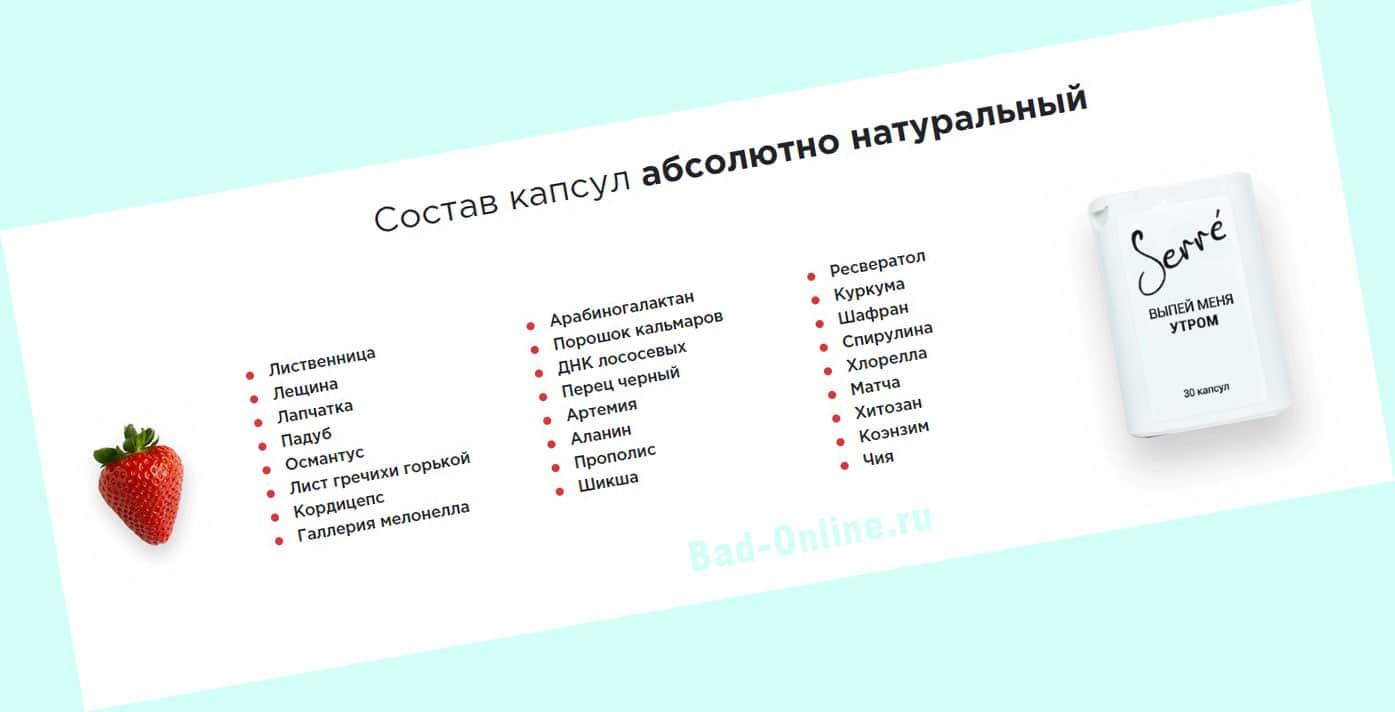 Полный состав препарата SerreGenetic для похудения на сайте Bad-Online.ru